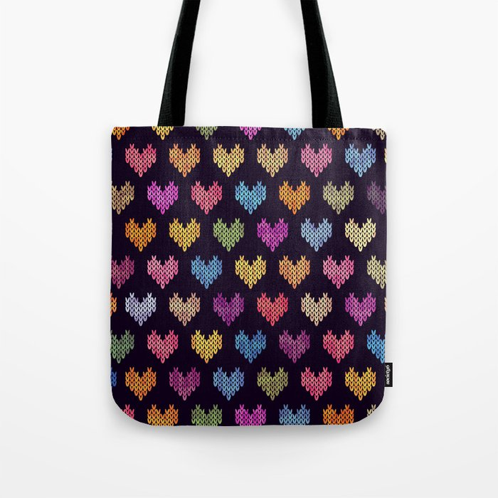Colorful Knitted Hearts III Tote Bag