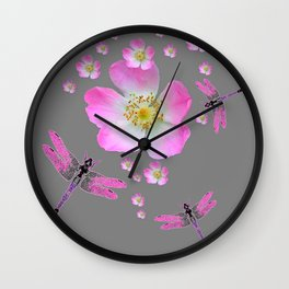 ROSE DRAGONFLIES & WILD PINK ROSES Wall Clock