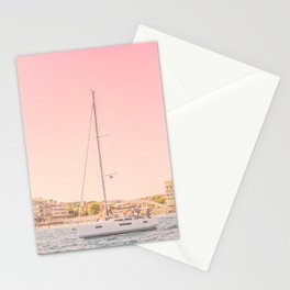 Travel Photography | Nautical Boats Ocean Europe Photo | Pink Sea Wanderlust Nature Seascape Sky Stationery Cards