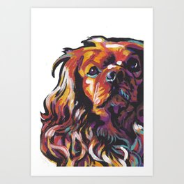 Ruby Cavalier King Charles Spaniel Dog Portrait Pop Art painting by Lea Art Print