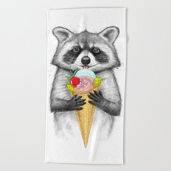 raccoon with ice cream Beach Towel
