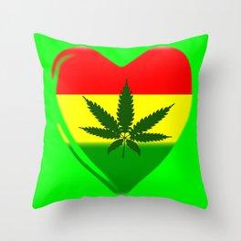 Rasta Heart Throw Pillow