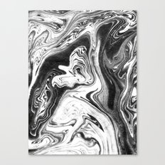 Mishiko - spilled ink abstract marble painting black and white minimal modern marbled paper water  Canvas Print