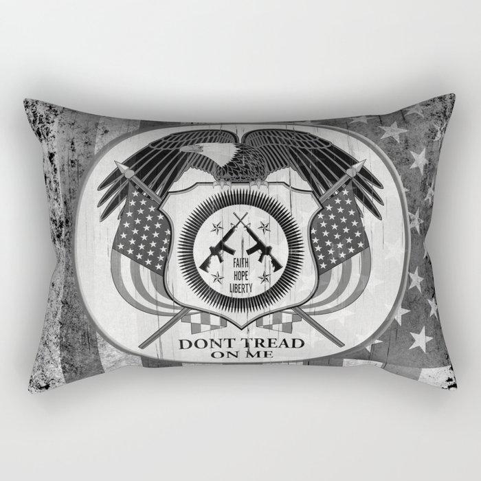Faith Hope Liberty & Freedom Eagle on US flag Rectangular Pillow
