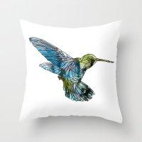 hummingbird Throw Pillows featuring Hummingbird by madbiffymorghulis