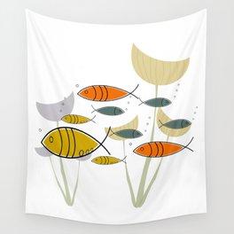 Mid Century Modern Fish, Marine Life Wall Tapestry
