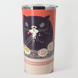 Bowl of ramen and black cat Travel Mug