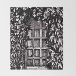 Black White Old Door Throw Blanket