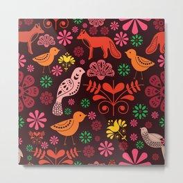 Folk Art Illustration // Art Print/Surface Pattern Design Metal Print