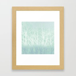 Frosted Winter Branches in Misty Green Framed Art Print