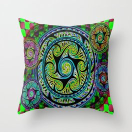 Variated Spheres #1 Psychedelic Celtic Design Throw Pillow