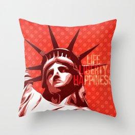 Statue of Liberty - Pop Art Throw Pillow