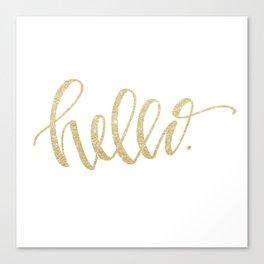 """Hello"" Gold Sparkle Canvas Print"
