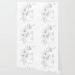 Minimal Line Art Woman Face II Wallpaper