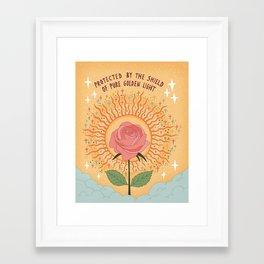 Protected by the golden light Framed Art Print