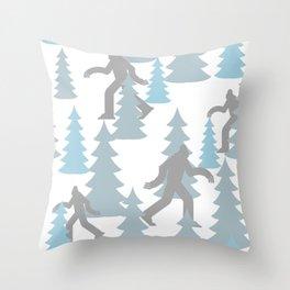 Pastel Blue Grey Winter Forest Yeti sasquatch silhouette  Abominable Snowman BigFoot  Throw Pillow