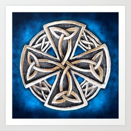Celtic Cross Blue Art Print