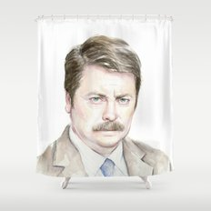Swanson Watercolor Ron Shower Curtain