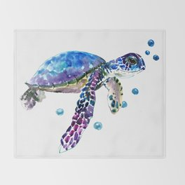 Sea Turtle, blue purple illustration children room cute turtle artwork Throw Blanket