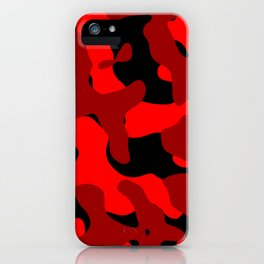 Black and Red Camo abstract iPhone Case