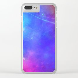 Abstract Pink and Purple Cosmic Space Design Clear iPhone Case