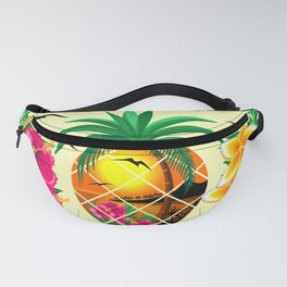 Pineapple Tropical Sunset, Palm Tree and Flowers Fanny Pack