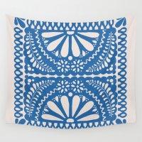 leah flores Wall Tapestries featuring Fiesta de Flores Blue by Natalie Baca