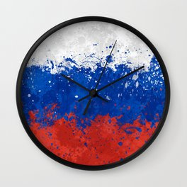 Russian Flag - Messy Action Painting Wall Clock