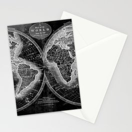 Black and White World Map (1795) Inverse 2 Stationery Cards