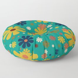 Flowerama - Retro Floral Pattern in Mid Mod Colors on Turquoise Teal Floor Pillow