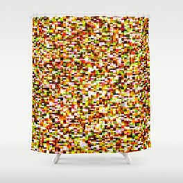 Red yellow pixel noise static pattern Shower Curtain