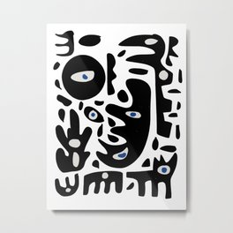 Minimal African Art Black and White Pattern Abstract  Metal Print