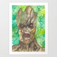 groot Art Prints featuring Groot by Makenna Raye