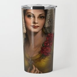Spanish Beauty with Lace Mantilla and Comb by Jesus Helguera Travel Mug