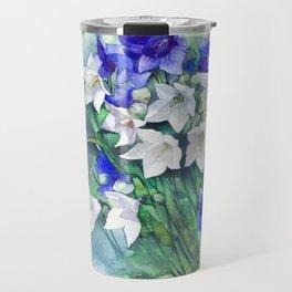 Campanula watercolor flowers, aquarelle bellflowers Travel Mug