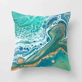 Coastal Waters Acrylic Pour Throw Pillow