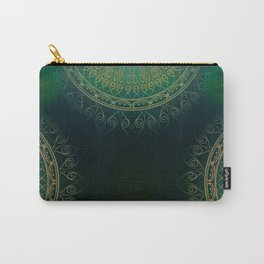 """""""Dark Clover Green & Gold Mandala Deluxe"""" Carry-All Pouch"""