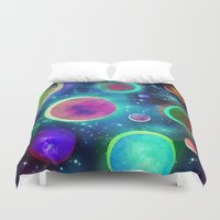 planets Duvet Covers featuring Festive Planets by SensualPatterns