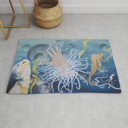 Surreal Life Underwater with Fish and Seahorse Rug