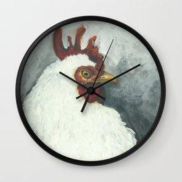 Happy chicken hand painted portrait Wall Clock
