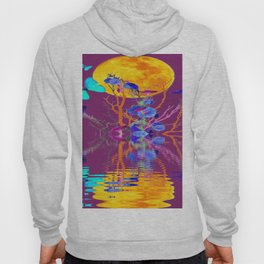 BLUE BUTTERFLIES & MOON WATER GARDEN  REFLECTION Hoody