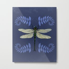 Dragonfly and Ferns Metal Print