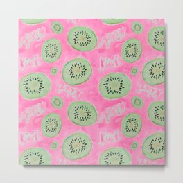 Watercolor Kiwi Slices in Neon Pink Punch Metal Print