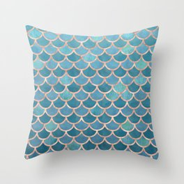 Mermaid Scales in Teal and Rose Gold Throw Pillow