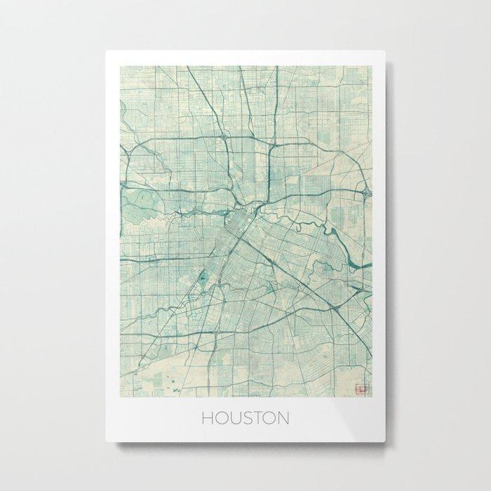 Houston Map Blue Vintage Metal Print
