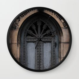 Gothic Door at Pere Lachaise Cemetery Paris Wall Clock