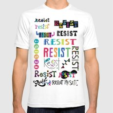 Resist them 3 White Mens Fitted Tee SMALL
