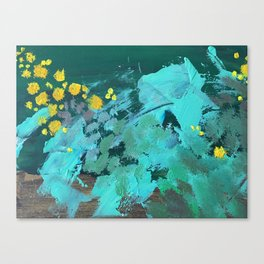 golden wattle oil painting Canvas Print