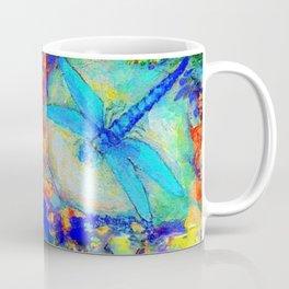 "BLUE ""ZINGER"" DRAGONFLIES  & PURPLE FLOWERS ART Coffee Mug"