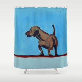 Doxie Dog in Red White and Blue Shower Curtain